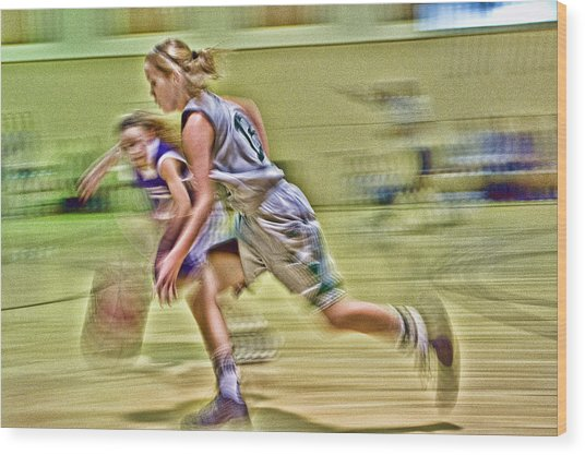 Girls Basketball Wood Print