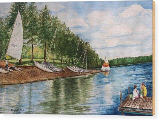 Girls Day At The Lake Wood Print by Enola McClincey