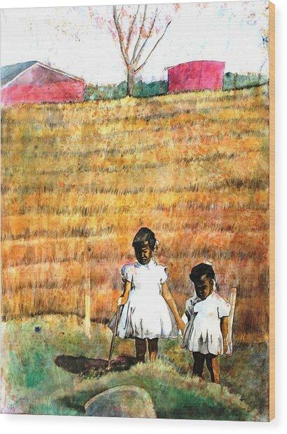Girls In The Field Wood Print