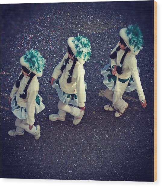 Girls Marching In A Row Wood Print