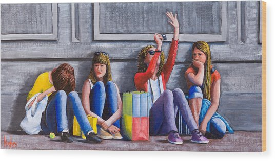 Girls Waiting For Ride Wood Print