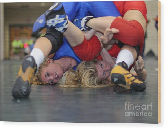 Girls Wrestling Competition Wood Print