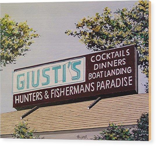 Giusti's In The Sacramento San Joaquin Delta Wood Print by Paul Guyer