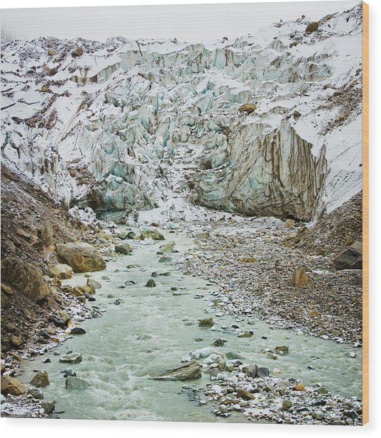 Glacier And River In Mountain Wood Print