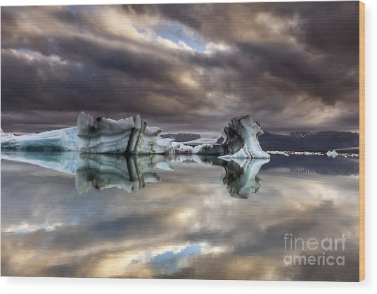 Glacier In Water Wood Print
