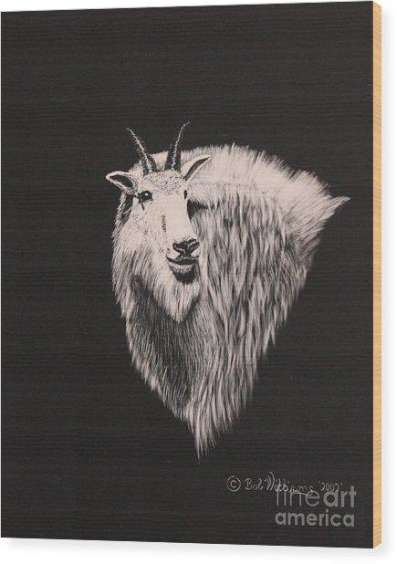 Glacier Park Goat Wood Print