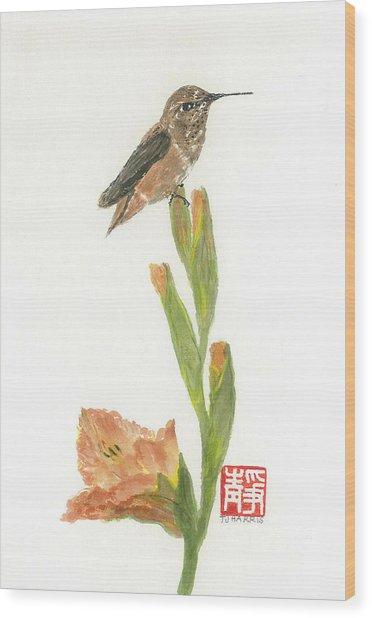 Glad Hummingbird  Wood Print