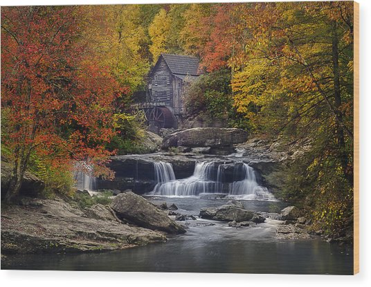 Glade Creek Grist Mill 2 Wood Print by Michael Donahue