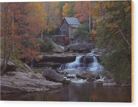 Glade Creek Grist Mill In Autumn Wood Print