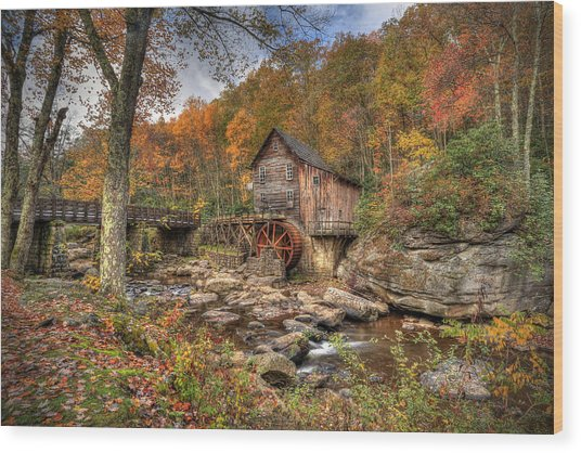Glade Creek Gristmill Wood Print