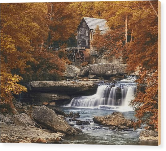 Glade Creek Mill In Autumn Wood Print