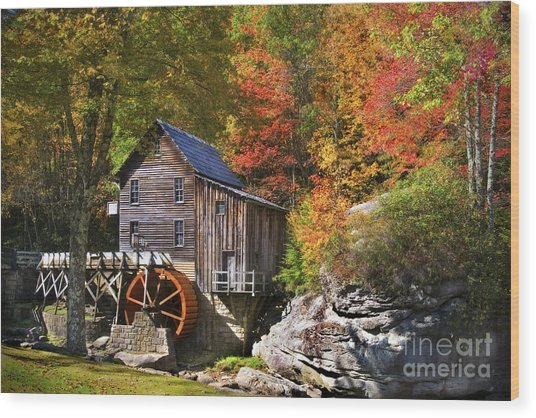 Wood Print featuring the photograph Glade Creek Mill by T Lowry Wilson