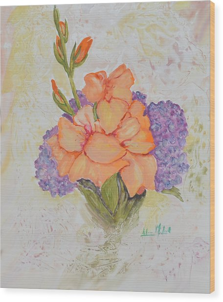 Gladioli And Hydrangea Wood Print by Aileen McLeod