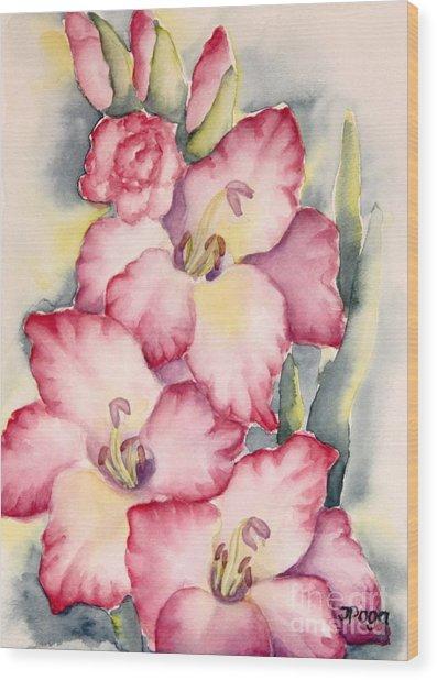 Gladiolus In Pink Wood Print