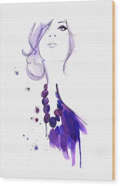 Glamorous Woman Wearing Purple Necklace Wood Print by Jessica Durrant
