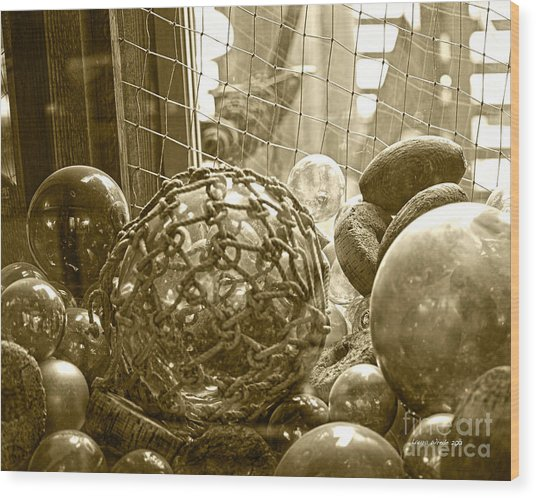 Glass Balls Japanese Glass Buoys Wood Print by Artist and Photographer Laura Wrede