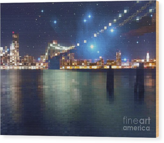 Glass Block Brooklyn Bridge Among The Stars Wood Print