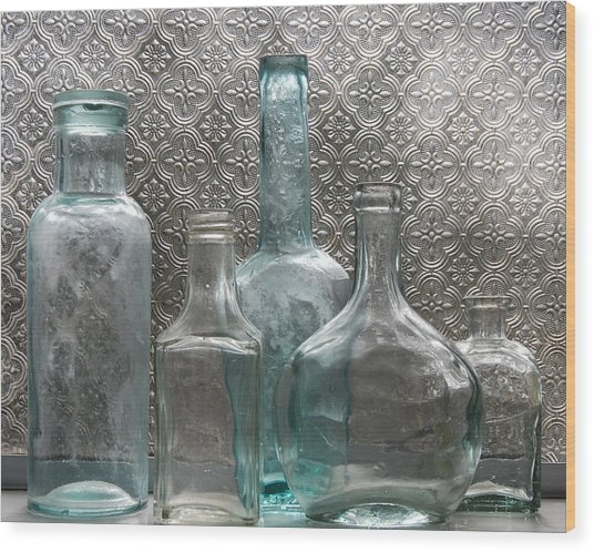 Glass Bottles 1 Wood Print