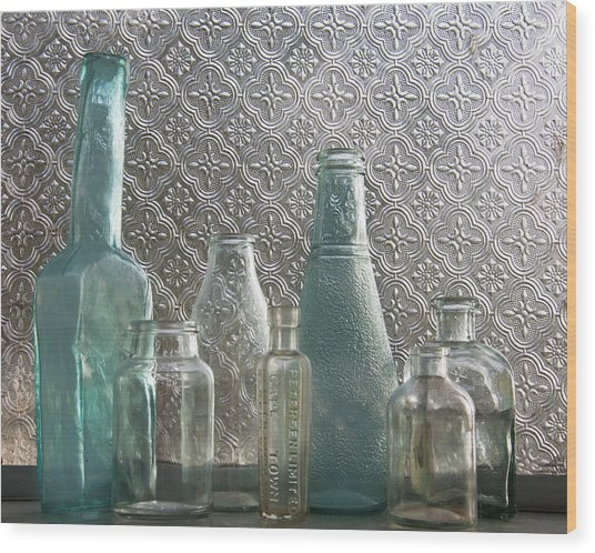 Glass Bottles 2 Wood Print