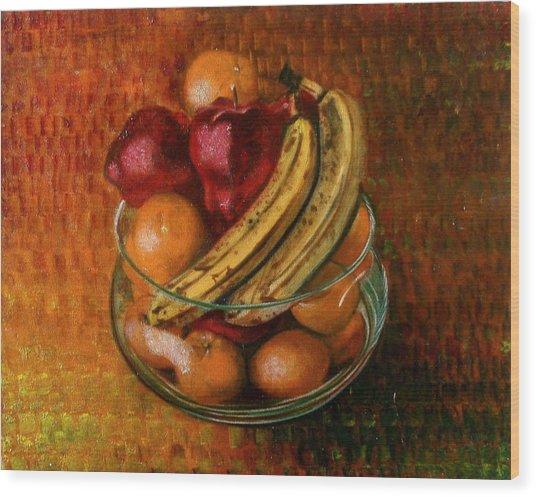 Glass Bowl Of Fruit Wood Print
