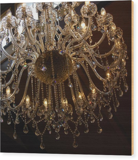 Glass Chandelier Wood Print