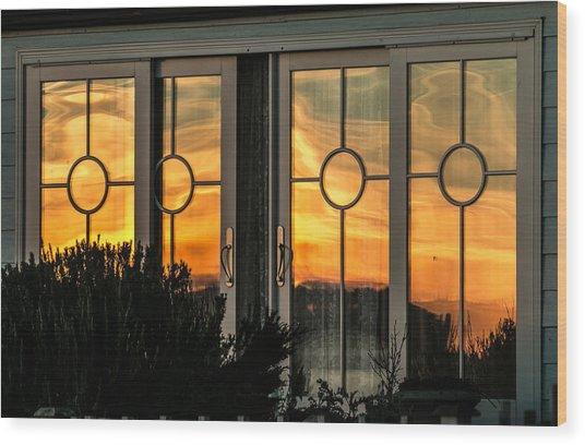Glass Doors Aglow Wood Print