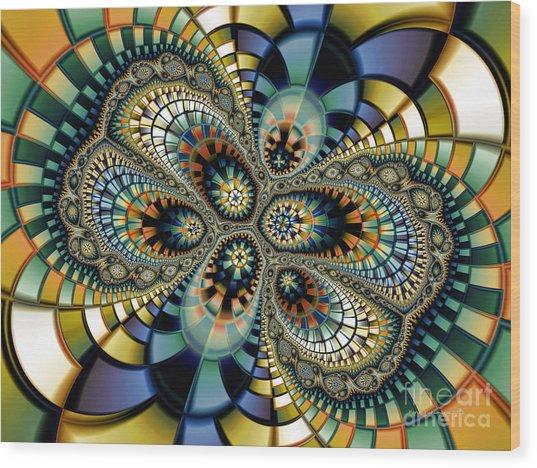 Glass Mosaic-geometric Abstraction Wood Print