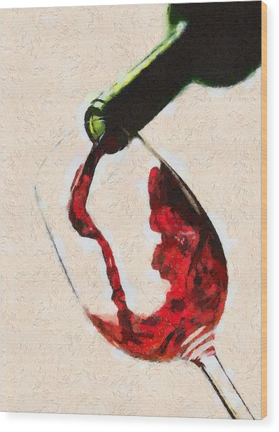 Glass Of Red Wine Wood Print