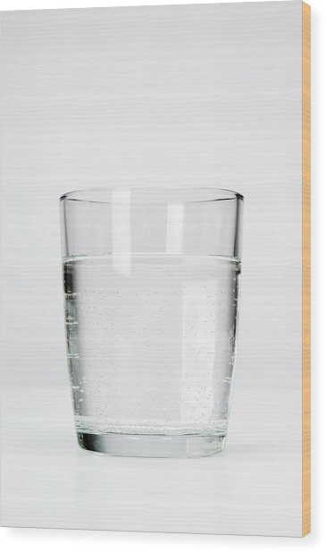 Glass Of Sparkling Mineral Water Wood Print