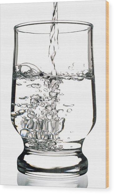 Glass Of Water Wood Print