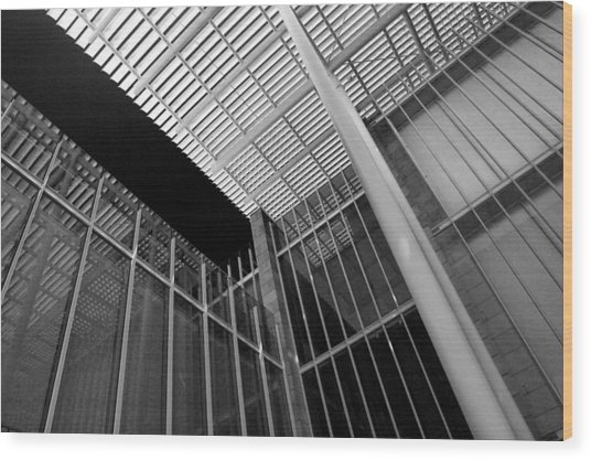 Glass Steel Architecture Lines Black White Wood Print