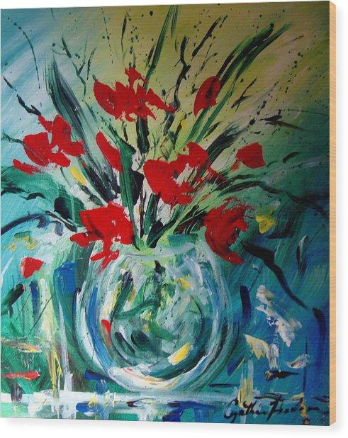 Glass Vase Wood Print by Cynthia Hudson