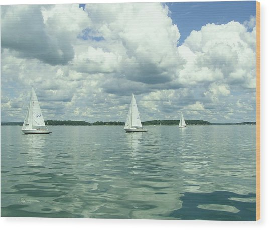 Glassy Sailing Wood Print