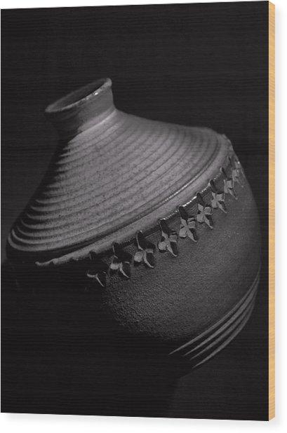 Glazed-black And White Wood Print by Tom Druin