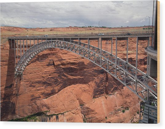 Glen Canyon Dam Bridge Wood Print by Jim West