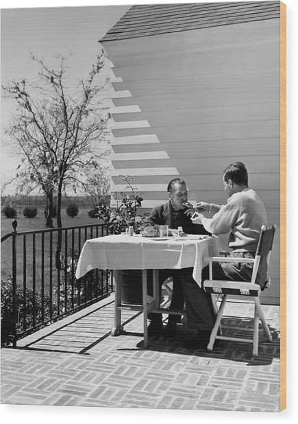 Glenway Wescott And Somerset Maugham On A Porch Wood Print