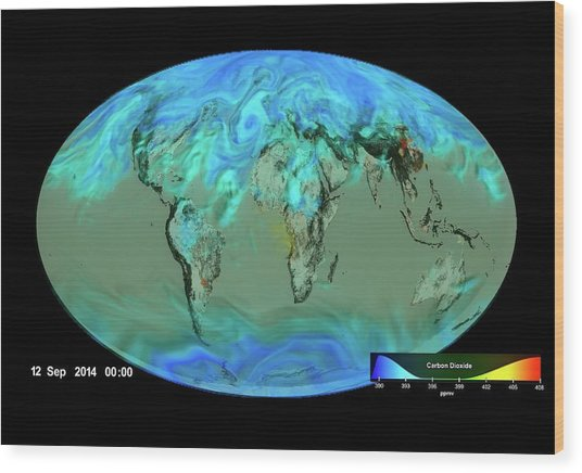 Gloabl Carbon Dioxide Sinks Wood Print by Nasa's Scientific Visualization Studio/science Photo Library