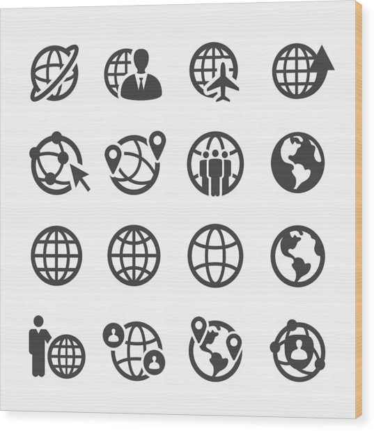 Globe And Communication Icons Set - Acme Series Wood Print by -victor-