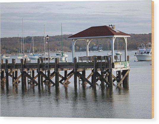 Gloomy Day Northport Dock Long Island New York Wood Print