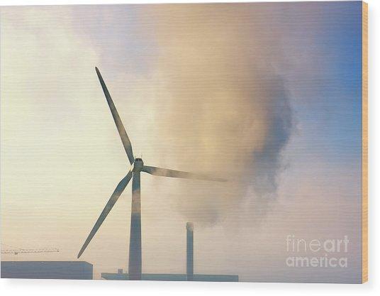 Gloomy Industrial View. Wood Print