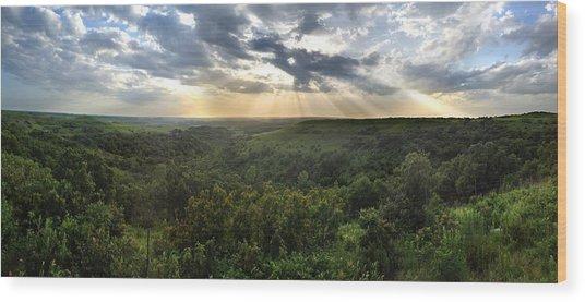 Glory Lights Over The Konza Prairie Wood Print