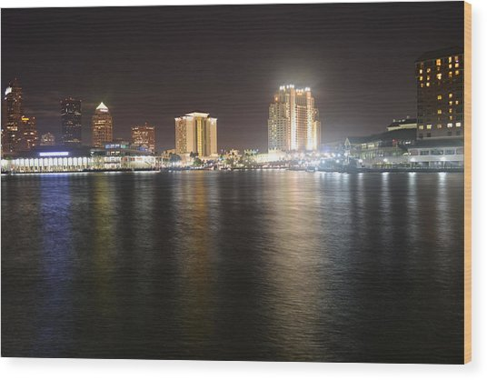 Glowing Hotel Wood Print by Victoria Clark