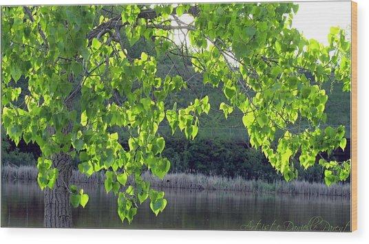 Glowing Leaves Wood Print