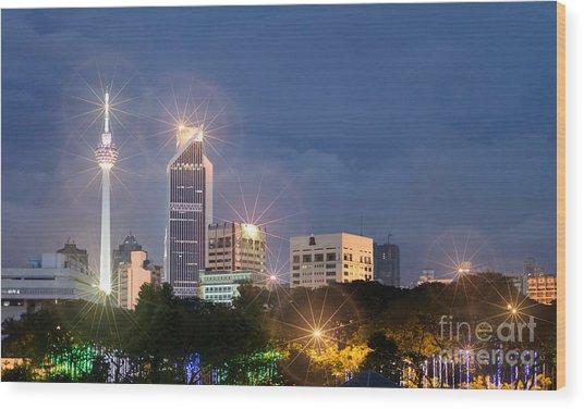 Glowing Lights Of Kuala Lumpur - Malaysia - South East Asia Wood Print