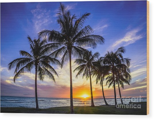 Glowing Orange Hawaiian Sunset Wood Print