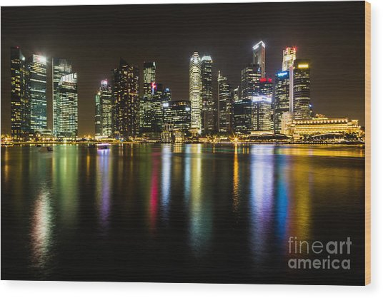 Glowing Singapore Wood Print