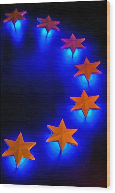 Glowing Stars Of Freedom Wood Print