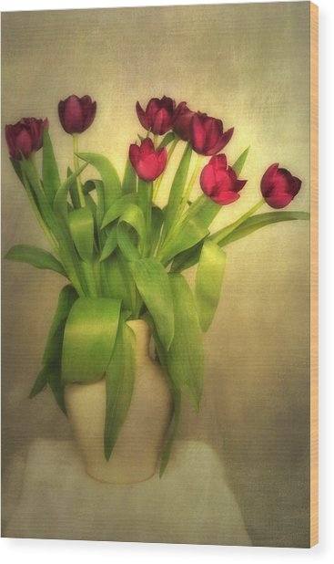Glowing Tulips Wood Print