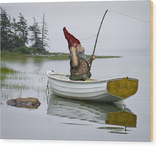 Gnome Fisherman In A White Maine Boat On A Foggy Morning Wood Print