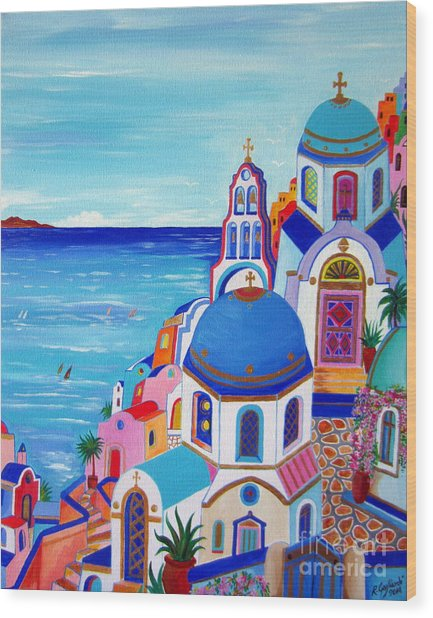 go to Santorini now Wood Print